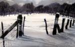 Eerste sneeuw, aquarel - ingelijst in passe partout: 50 x 70 cm - 75€